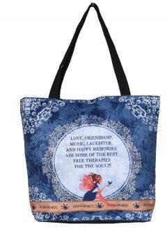 Τσάντα καμβάς ώμου νεράιδα μπλέ