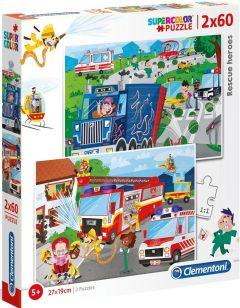 Puzzle Supercolor Rescue Heroes 2x60τμχ - Clementoni