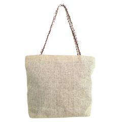 Τσάντα Ψάθινη Ριγέ Kαφέ Λουλούδια -Sungrace