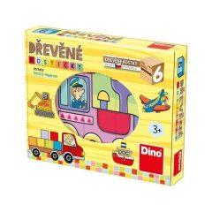 Puzzle Ξύλινοι Κύβοι Μεταφορικά μέσα 6τμχ – Dino toys